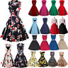 Women 50s 60s Vintage Rockabilly Pinup Swing Floral Cocktail Evening Party Dress