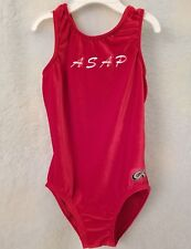 Gk from Elite Sportswear Girls Red Velor Feel Asap Leotard Size M