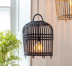 Gallery Pueblo Rattan Wooden Cage Style Pendant Shade Black Large W 54 x H 54cm
