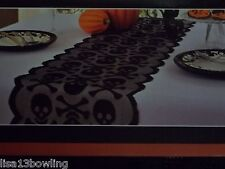 "Halloween Lace With Danger Festive Table Runner ~Skull & Cross Bones 14"" X 72"""