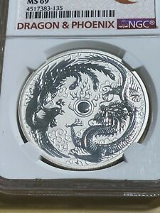 2017-P Australia 1 Dollar Dragon & Phoenix Reverse Proof Graded MS69 by NGC!!
