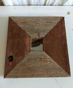 Reclaimed Barn Wood siding Framed mirror  Primitive Rustic Decor Handmade red
