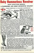 1926 small Print Ad of Baby Hammerless Revolver .22 Ejector Model w Holster