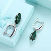Gorgeous Silver Emerald Earrings 6 round  real Emeralds silver