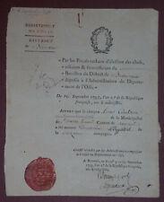 NOMINATION CAPORAL 1793 - Bataillon de l'Oise - 58eme de ligne