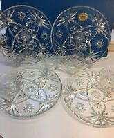 Anchor Hocking Glass 4 Cups & Plates Clear Early American Prescut Luncheon