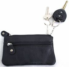 Quality Full Grain Cow Hide Leather Coin Purse With Key Rings on Interior. 11018