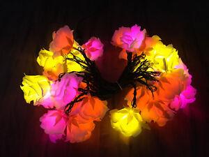 Led Romantic Flower Rose Light Lamp Pink Orange Yellow Decor Exterior Plugin