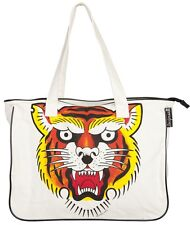 Le Tigre Tattoo Flash Canvas Tote Bag Sourpuss Tiger Traditional Tattoo