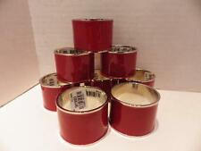 (8) Red Enamel on Stainless Steel Round Napkin Rings NWT
