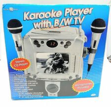 "Karaoke 5"" Black & White TV, CD Player, AM/FM Radio w/Dual Mics Retro System New"