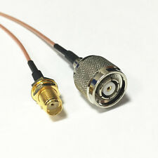 "SMA female to RP TNC male plug pigtail cable RG178 6"" for wireless router NEW"