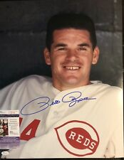 Pete Rose Signed 16x20 Cincinnati Reds Photo JSA COA Inscription