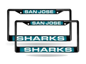San Jose Sharks Black Metal (2) Laser License Plate Frame Set