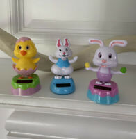 Lot 3 Solar powered Dancing Happy Easter Bunny And Chick