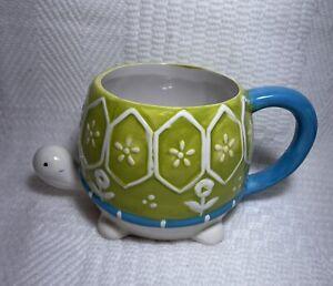 Pier One Turtle shape 3D Mug Tea  Coffee Cup TORTOISE whimsical Blue Green
