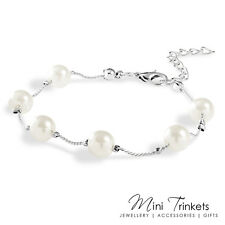 Silver Plated Pearl Chain Bracelet Gift Present Wedding Bridesmaid Prom Bangle