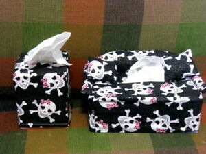 Handcrafted Skull Girl Punk Rock Cloth Tissue Box Covers  New Old Stock Craft