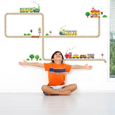 Decowall DW-1504 Trains and Tracks Wall Stickers Children Vinyl DIY KIDS Decals