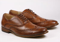 "Brown Men's Wing Tip Perforated Lace Up Oxford Dress Shoes ""PREOWNED"""