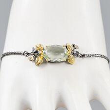 Vintage Natural Green Amethyst 925 Sterling Silver Bracelet Inches 8.5/BR03465