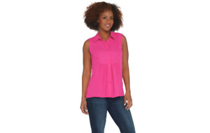 Joan Rivers Sleeveless Bib Front Blouse with Gathered Detail Hot Pink L A304650