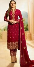 Red Georgette Designer Salwar Suit. Embroidered. Size 46. New.