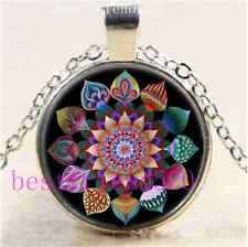 Mandala of Unity Photo Cabochon Glass Tibet Silver Chain Pendant Necklace