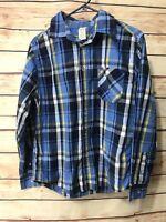 Faded Glory Boys Size 18 XXL Blue Plaid Button Up Shirt Long Sleeve Casual Wear