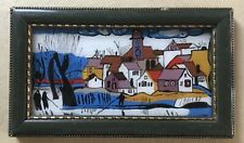 Hinterglas Dipinto Naiv Winterlandschaft Kirchdorf Persone 14 X 24 CM Miniatura