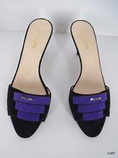 Prada Sandals Suede Black Purple Logo Open Toe Kitten Heels Slides Size 7.5 37.5