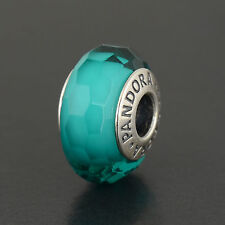NEW Pandora Sterling Silver Teal Shiummer Murano Glass Bead #791655