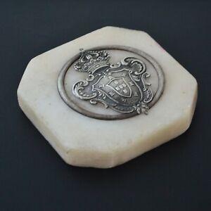 Antique Portugal Silver monarchy kingdom symbol emblem coat ofshield arms marble