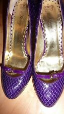 Juicy Couture PURPLE Patent UK 6 39 Leather Animal Print Heels Shoes FAB RARE!!!