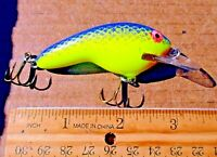 "1ct PURPLE CHARTREUSE 3""Flat Sided 3/8oz CRANKBAIT Balsa Wood Bass Fishing Baits"