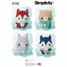 Simplicity Pattern 8188 Stuffed Fox, Wolf, Bear and Bunny animals