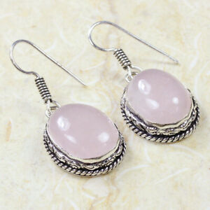"""Rose Quartz 925 Silver Plated Handmade ethnic Jewelry Gift Earrings of 1.6"""""""