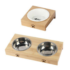 Elevated Dog Bowls with Bamboo Frame for Dogs and Cats Raised Dog Bowls