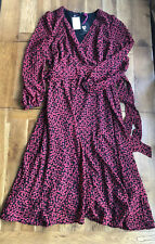 V By Very Flocked Spot Wrap Midi Dress Red Size 14