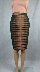 Unbranded Tailor Made Green Aztec African Themed Straight Skirt Size S (8-10)