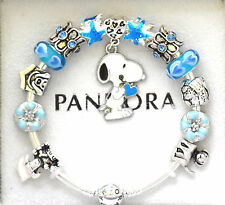 Authentic PANDORA Silver Charm Bracelet and European Charms Blue Snoopy Dog
