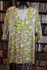 Boden Gray Chartreuse green White Leaf patt Silk Dress Ladies size US 6  (b120)
