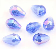 20X Faceted Teardrop Crystal Loose Spacer Glass Beads DIY Craft 8x12/16x10mm