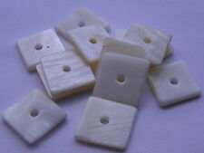 20 Freshwater Shell Beads, White Square 15mm. UK (BOX46)