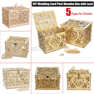 Wedding Card Post Box / Receiving Box / Wishing Well For Cards Wooden w/   NEW