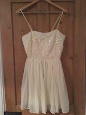 Topshop Dress Up Cream Sequin Dress Size 10 New!