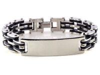 HOT ID Men Silver Cross Stainless Steel Black Rubber Bracelet Bangle Wristband