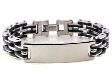 HOT ID Men Silver Cross Stainless Steel Black Rubber Bracelet Bangle Wristband