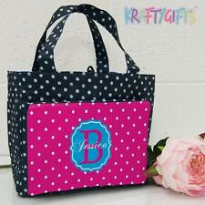 Personalised Pink Spots Girls Ladies Polka Dot Spotty Insulated Lunch Bag MG25