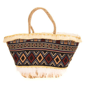 Woven Straw Tote Beach Bag Large Patterned Feather & Fringe Trim Zipped